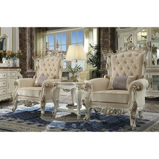 Fabric Upholstered Wooden Accent Chair with Artistic Polyresin Carvings, Antique White and Cream
