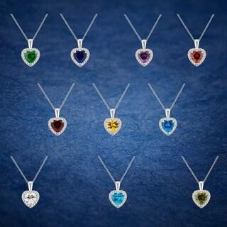 Divina Silver Overlay Created Heart Gemstone Fashion Pendant