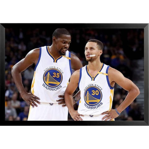 FRAMED Golden State Warriors - Kevin Durant Stephen Curry 36x24 Basketball Sports Art Print Poster - 36 x 24