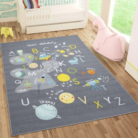Sweethome Kids Space and Alphabet Design Non-Slip Area Rug