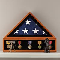 Gallery Solutions 20x27 Wood Military Flag Award Medal Display Case