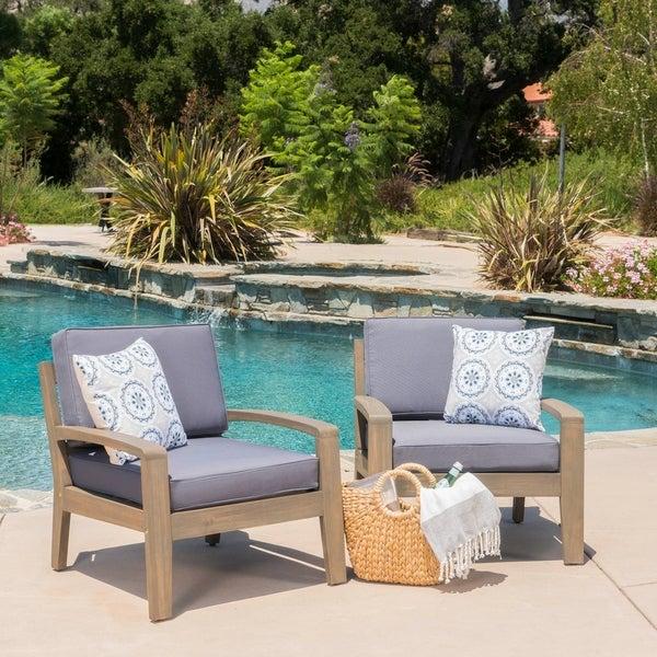 Grenada Outdoor Acacia Wood Club Chairs with Cushions (Set of 2) by Christopher Knight Home