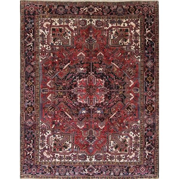 "Vintage Heriz Geometric Hand-Knotted Wool Persian Oriental Area Rug - 10'11"" x 8'6"""