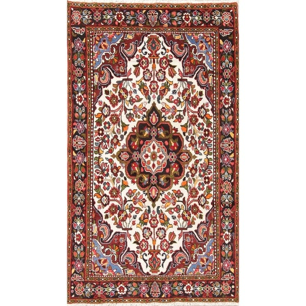 "Lilian Floral Medallion Hand-Knotted Wool Persian Oriental Area Rug - 8'3"" x 4'8"""