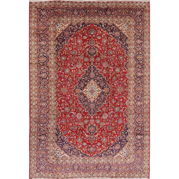 "Vintage Kashan Medallion Traditional Hand-Knotted Persian Area Rug - 11'11"" x 8'2"""