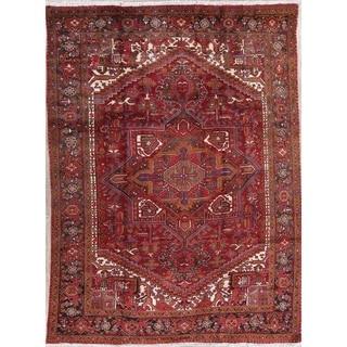 "Vintage Heriz Geometric Hand-Knotted Wool Persian Oriental Area Rug - 10'11"" x 8'2"""