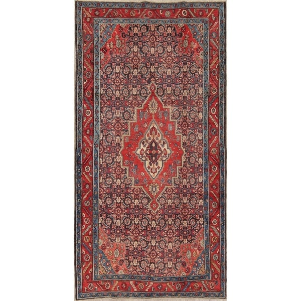 "Antique Bakhtiari Medallion Geometric Hand-Knotted Wool Persian Rug - 9'11"" x 5'0"" Runner"