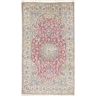 """Vintage Nain Medallion Hand-Knotted Wool with Silk Persian Area Rug - 6'5"""" x 3'8"""""""