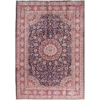 "Vintage Kashmar Medallion Traditional Hand-Knotted Persian Area Rug - 9'11"" x 7'0"""