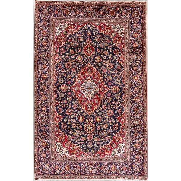 """Kashan Floral Medallion Traditional Hand-Knotted Wool Persian Area Rug - 9'11"""" x 6'4"""""""