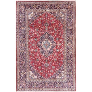 "Vintage Kashan Medallion Traditional Hand-Knotted Persian Area Rug - 9'11"" x 6'7"""