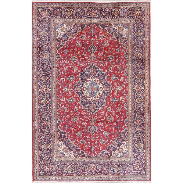 """Vintage Kashan Medallion Traditional Hand-Knotted Persian Area Rug - 9'11"""" x 6'7"""""""