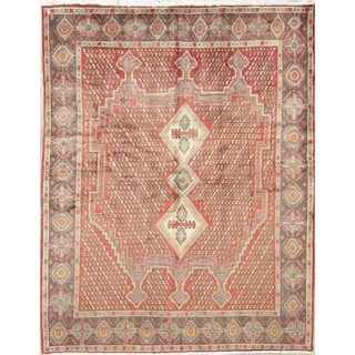 "Vintage Sirjan Geometric Hand-Knotted Wool Persian Oriental Area Rug - 6'5"" x 5'0"""