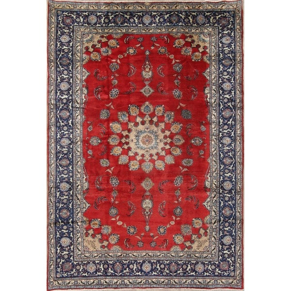 """Vintage Sarouk Floral Medallion Hand-Knotted Wool Persian Area Rug - 12'0"""" x 8'4"""""""