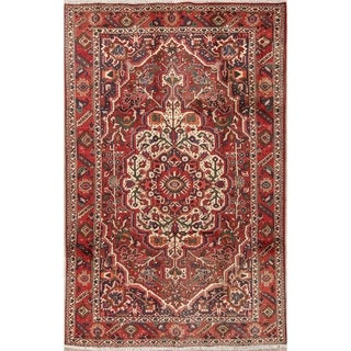"Bakhtiari Geometric Hand-Knotted Wool Persian Oriental Area Rug - 9'11"" x 6'4"""