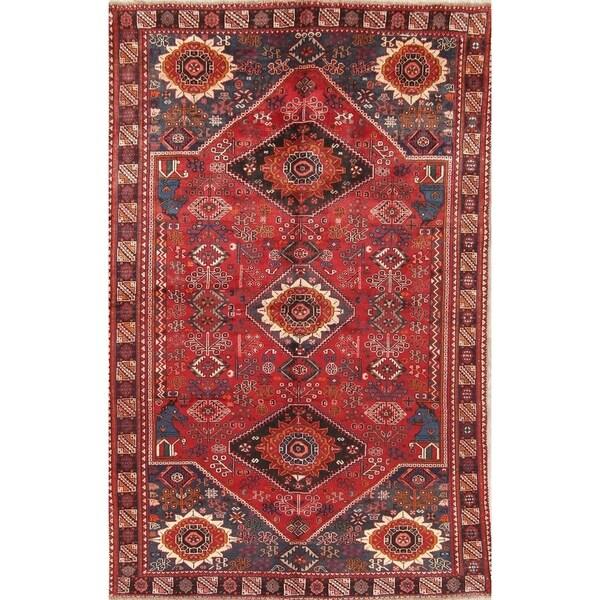 "Vintage Shiraz Tribal Geometric Hand-Knotted Wool Persian Area Rug - 9'10"" x 6'3"""