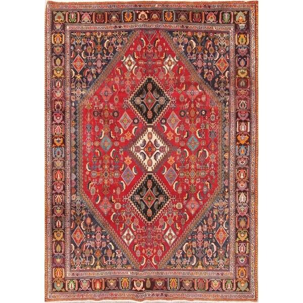 """Vintage Kashkoli Geometric Hand-Knotted Wool Persian Oriental Area Rug - 9'7"""" x 6'8"""""""