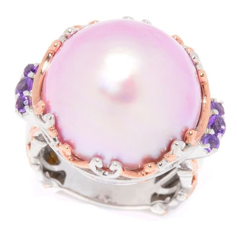 Michael Valitutti Palladium Silver Pink Mabe Cultured Pearl & Amethyst Ring
