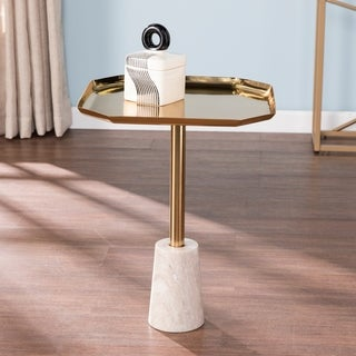 Silver Orchid Jalangi Glam Gold Marble Accent Table