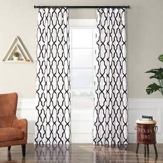 "Exclusive Fabrics Pinnacle White & Black Flocked Faux Silk Curtain 96"" (As Is Item)"