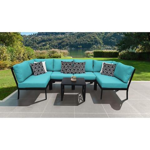 kathy ireland Madison Ave. 7 Piece Outdoor Aluminum Patio Furniture Set 07c