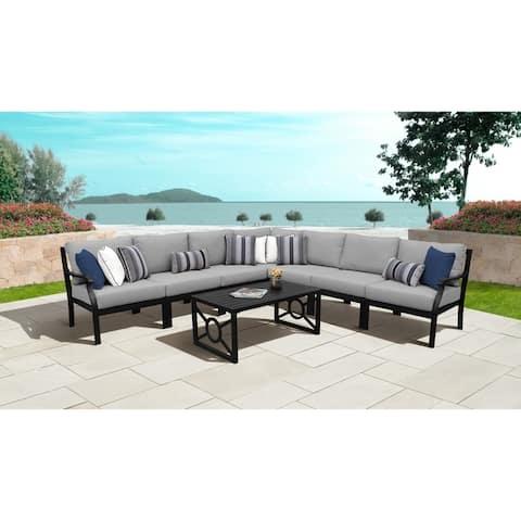 kathy ireland Madison Ave. 8 Piece Outdoor Aluminum Patio Furniture Set 08a