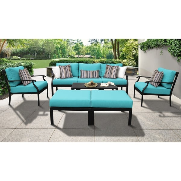 kathy ireland Madison Ave. 8-piece Outdoor Aluminum Patio Furniture Set. Opens flyout.