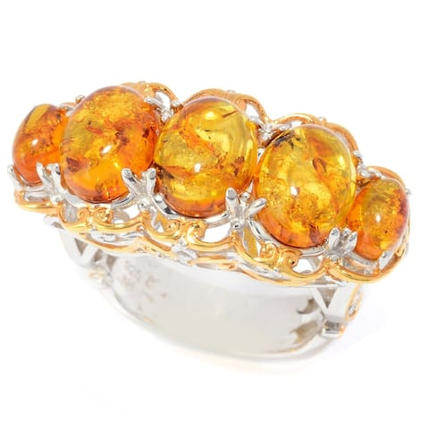 Michael Valitutti Palladium Silver Oval Amber Graduated 5-Stone Band Ring
