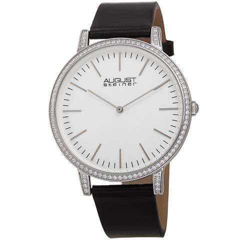 August Steiner Men's Classic Crystal Leather Strap Watch