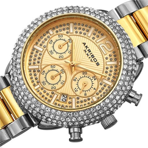 Akribos XXIV Men's Chronograph Crystal Encrusted Bracelet Watch