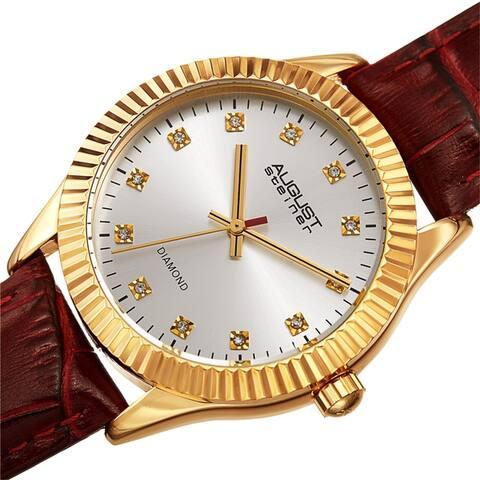August Steiner Women's Diamond Radiant Leather Strap Watch