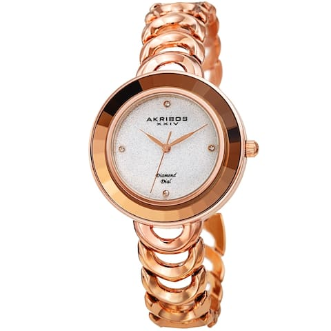Akribos XXIV Ladies Fashion Diamond Glitter Dial Link Bracelet Watch