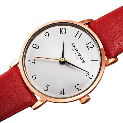 Akribos XXIV Ladies Classic Petite Pencil Style Leather Strap Watch