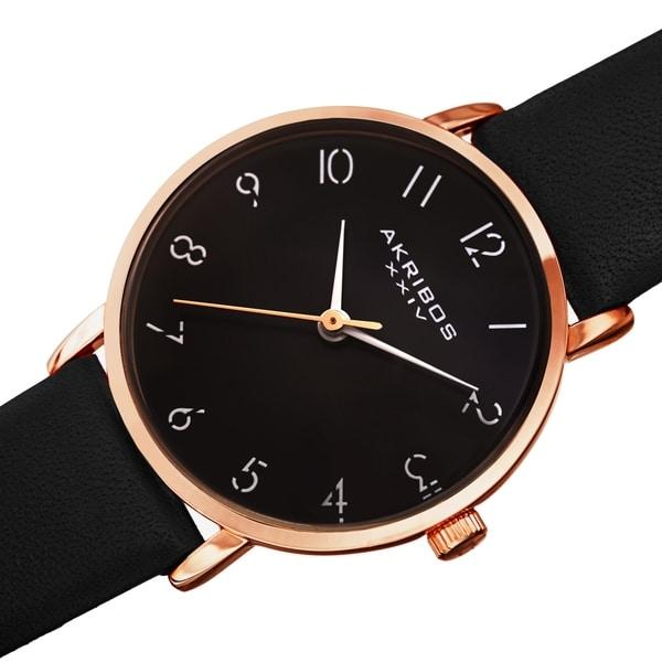 Akribos XXIV Ladies Classic Petite Pencil Style Leather Strap Watch
