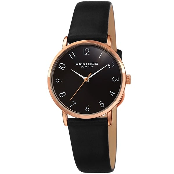 Akribos XXIV Ladies Classic Petite Pencil Style Leather Strap Watch. Opens flyout.