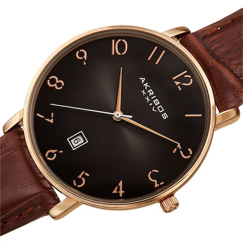 Akribos XXIV Men's Classic Date Embossed Leather Strap Watch