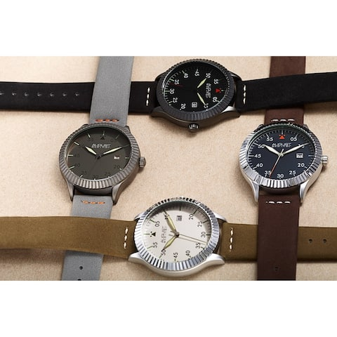 August Steiner Men's Pilot Style Grooved Leather Strap Watch