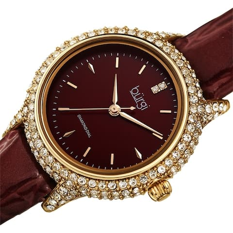 Burgi Women's Dazzling Diamond Swarovski Crystal Leather Strap Watch