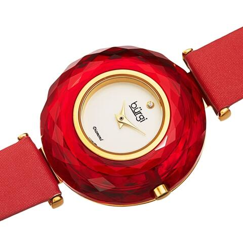 Burgi Women's Eye-Catching Diamond Faceted Case Satin Leather Strap Watch