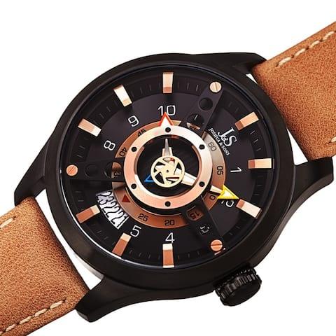 Joshua & Sons Men's Rugged Fan-like Leather Strap Watch