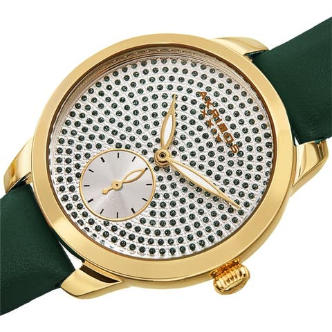 Akribos XXIV Women's Chic Glittered Dial Leather Strap Watch