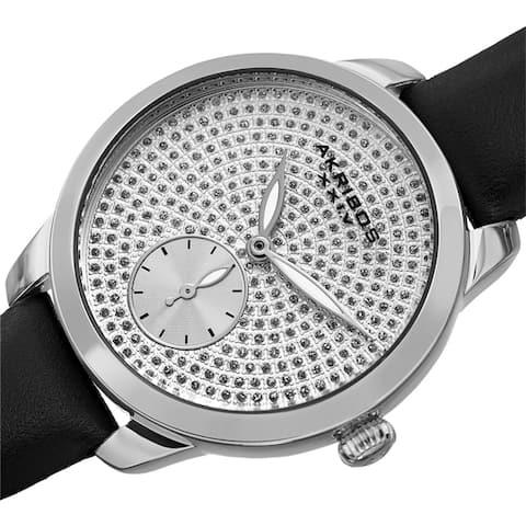 Akribos XXIV Women's Chic Glittered Dial Leather Strap Watch