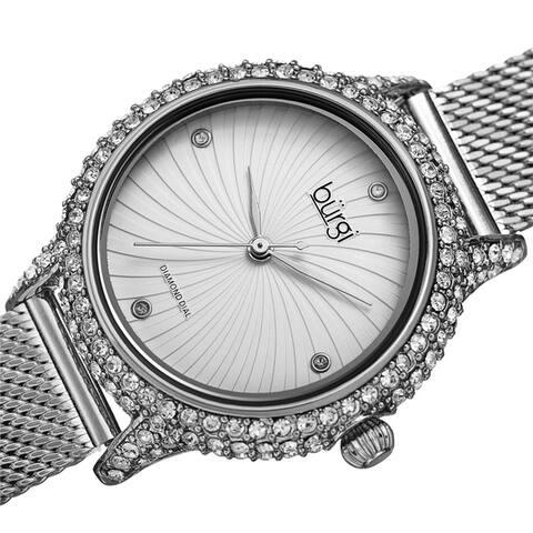 Burgi Women's Whirlwind Diamond Dial Mesh Strap Watch