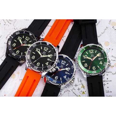 Joshua and Sons Men's Date Rotating Bezel Rubber Strap Watch