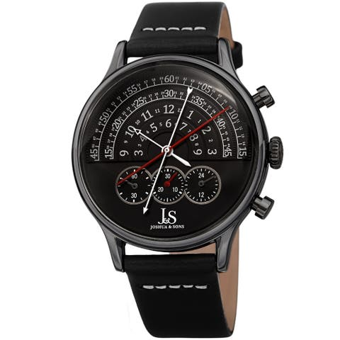Joshua & Sons Men's Chronograph Smooth Leather Strap Watch