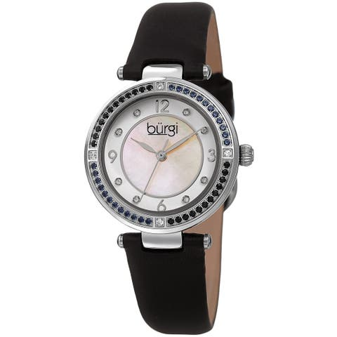 Burgi Women's Colored Crystal Fashion Satin Leather Strap Watch