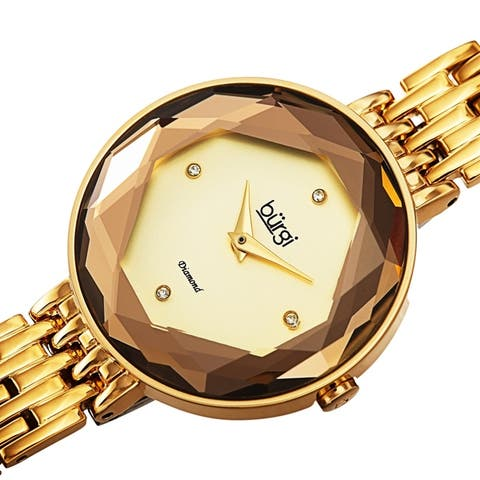 Burgi Women's Chic Diamond Hexagonal Faceted Crystal Link Bracelet Watch