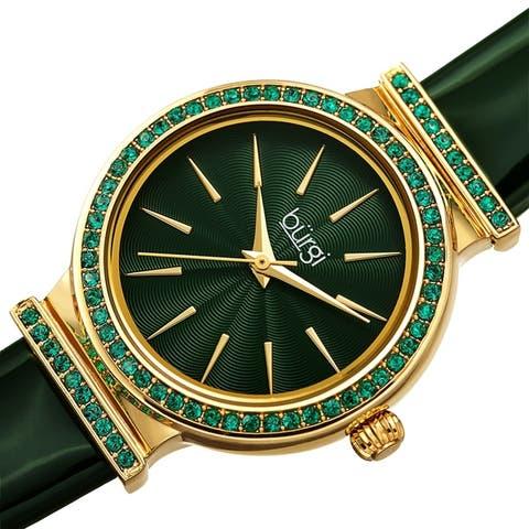 Burgi Women's Dazzling Chic Swarovski Crystal Leather Strap Watch