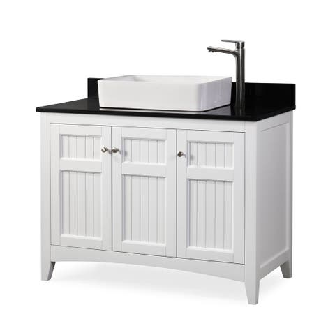 "42"" Benton Collection Thomasville Vessel Sink White Bathroom Vanity"