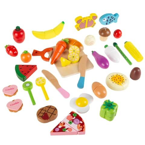 Pretend Play Food Set-Wooden Magnetic Fruits, Vegetables, Bread, Pizza and More-Colorful Creative Play for Kids by Hey! Play!